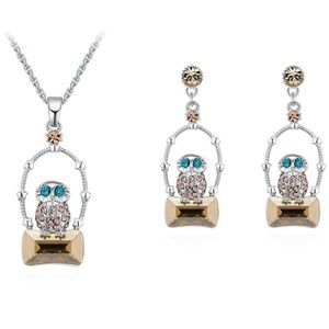 Swarovski Elements Crystal Owl Necklace Set